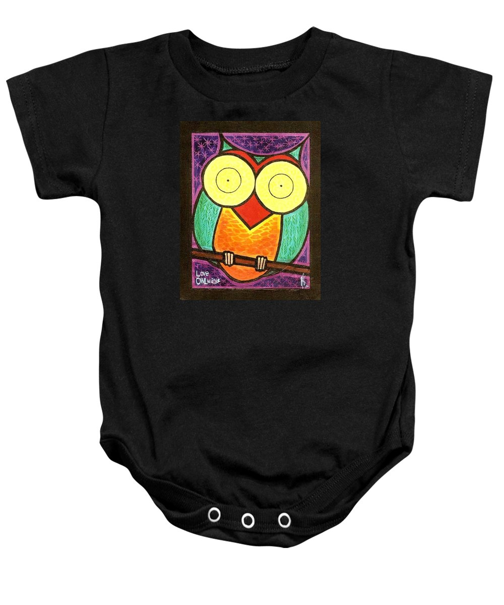 Owl Baby Onesie featuring the painting Love Owlways Too by Jim Harris
