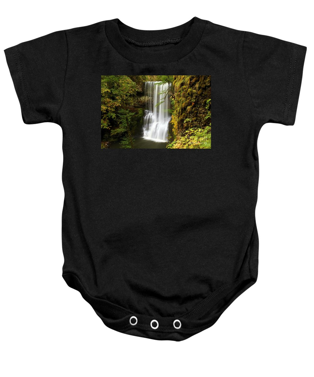 Silver Falls State Park Baby Onesie featuring the photograph Lower South Falls At Silver Falls by Adam Jewell
