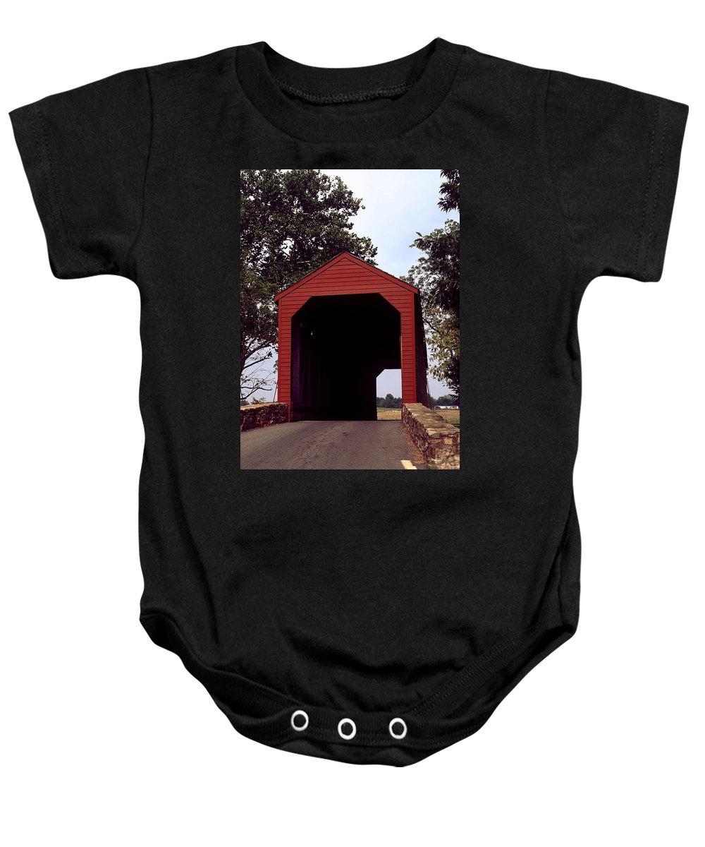 Loy's Station Covered Bridge Baby Onesie featuring the photograph Loy's Station Covered Bridge by Sally Weigand