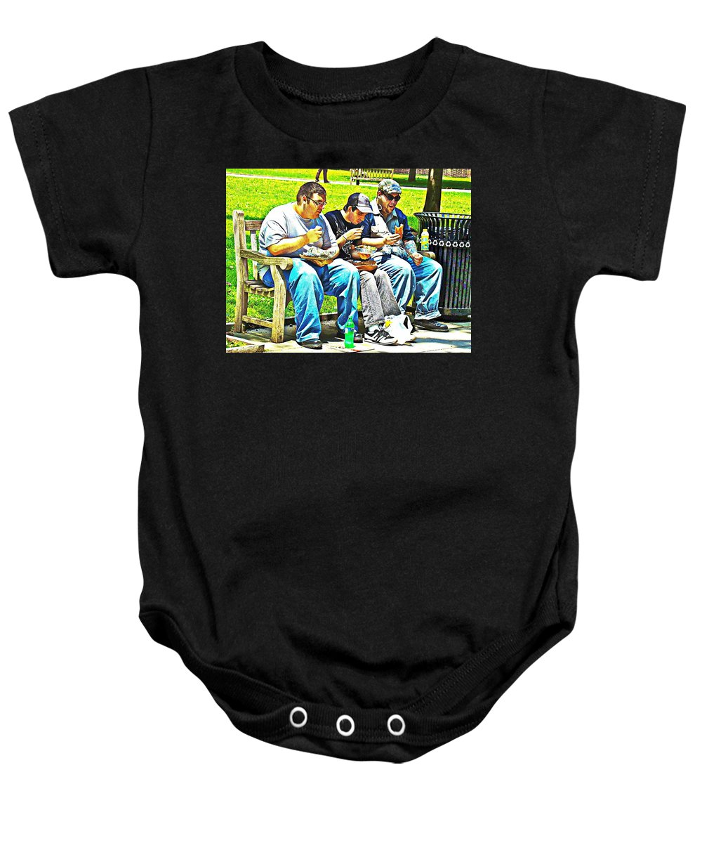 Men Eating Funny Sandwiches Lunch Park Bench Baby Onesie featuring the photograph Lunchtime by Alice Gipson