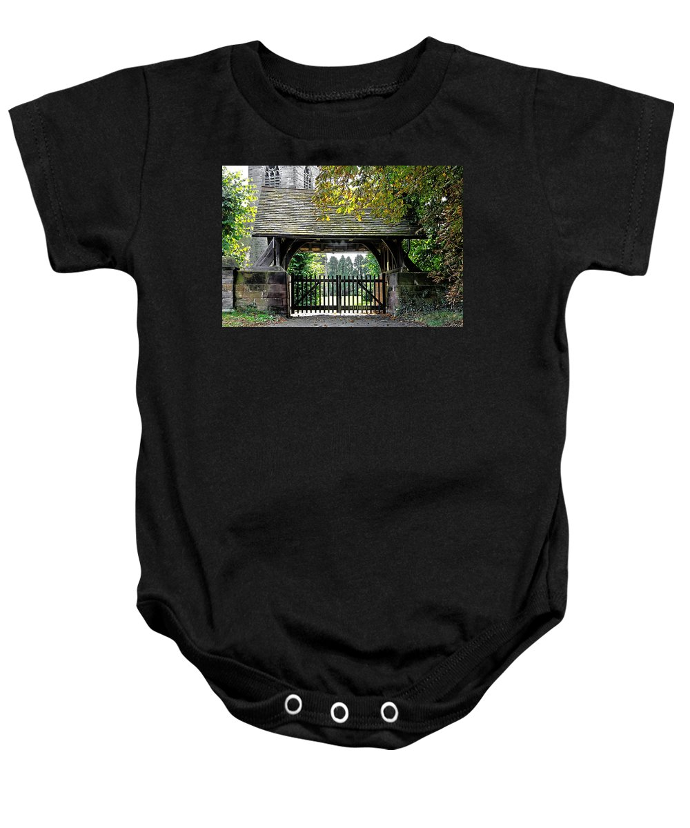 Scropton Baby Onesie featuring the photograph Lychgate To St Paul's Church - Scropton by Rod Johnson
