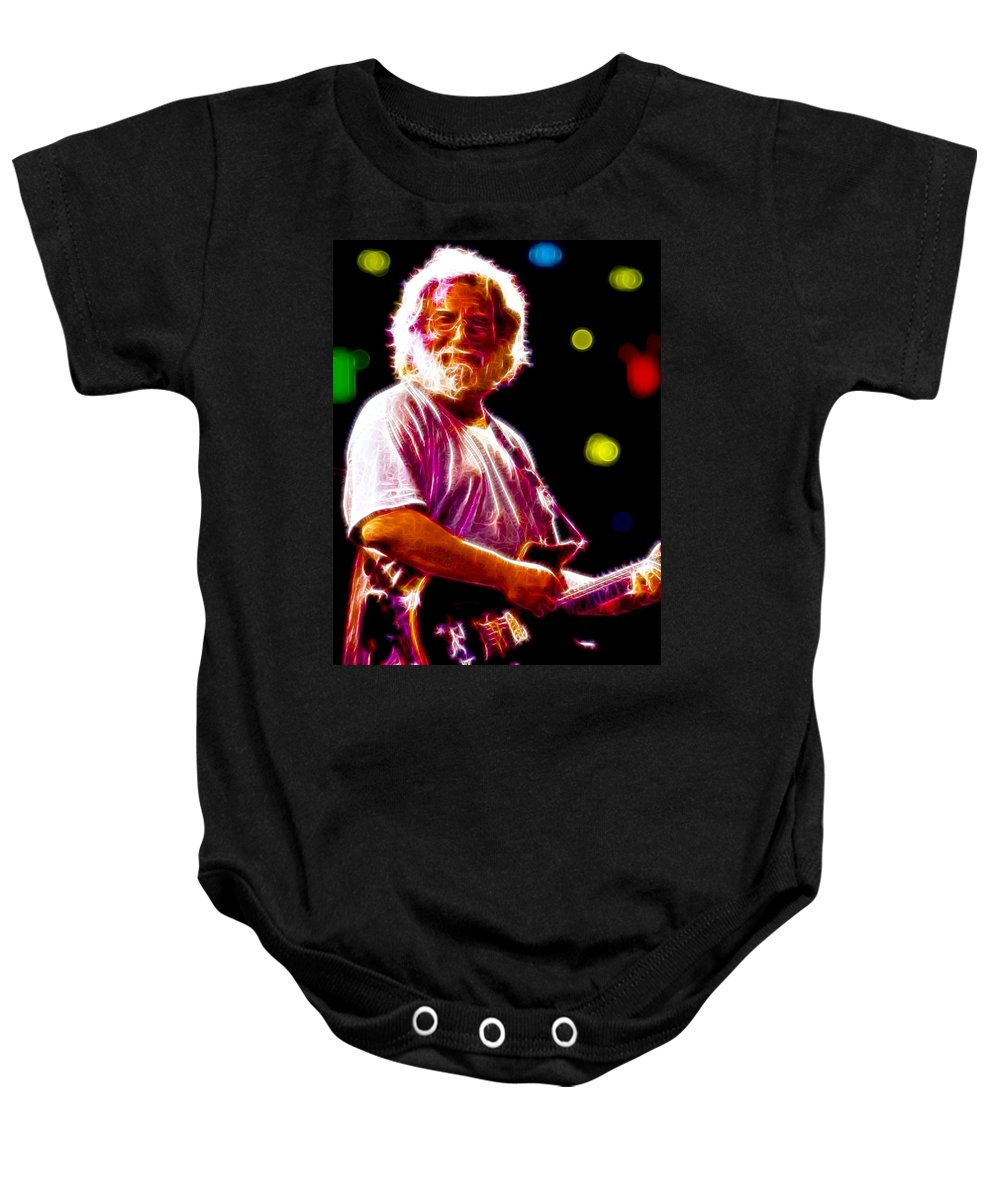 Jerry Garcia Baby Onesie featuring the painting Magical Jerry Garcia by Paul Van Scott
