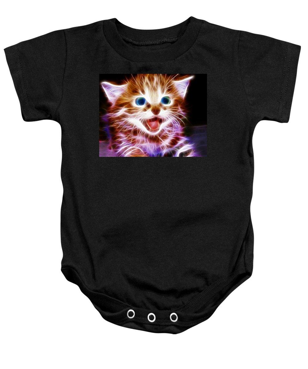 Cat Baby Onesie featuring the painting Magical Kitten by Paul Van Scott