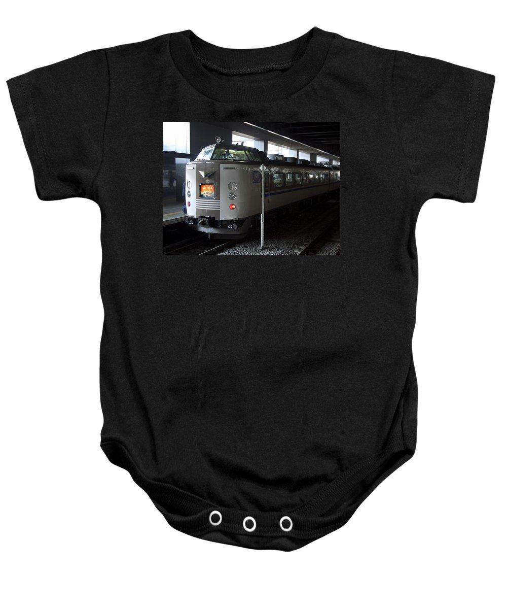 Train Baby Onesie featuring the photograph Maizuru Electric Train - Kyoto Japan by Daniel Hagerman