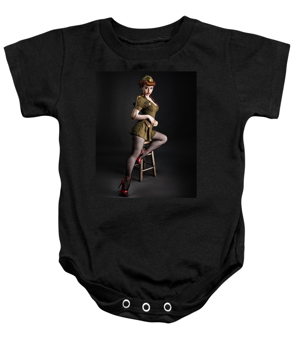 Redhead Pinup Art Baby Onesie featuring the photograph Major Trouble 477 by Gary Heller