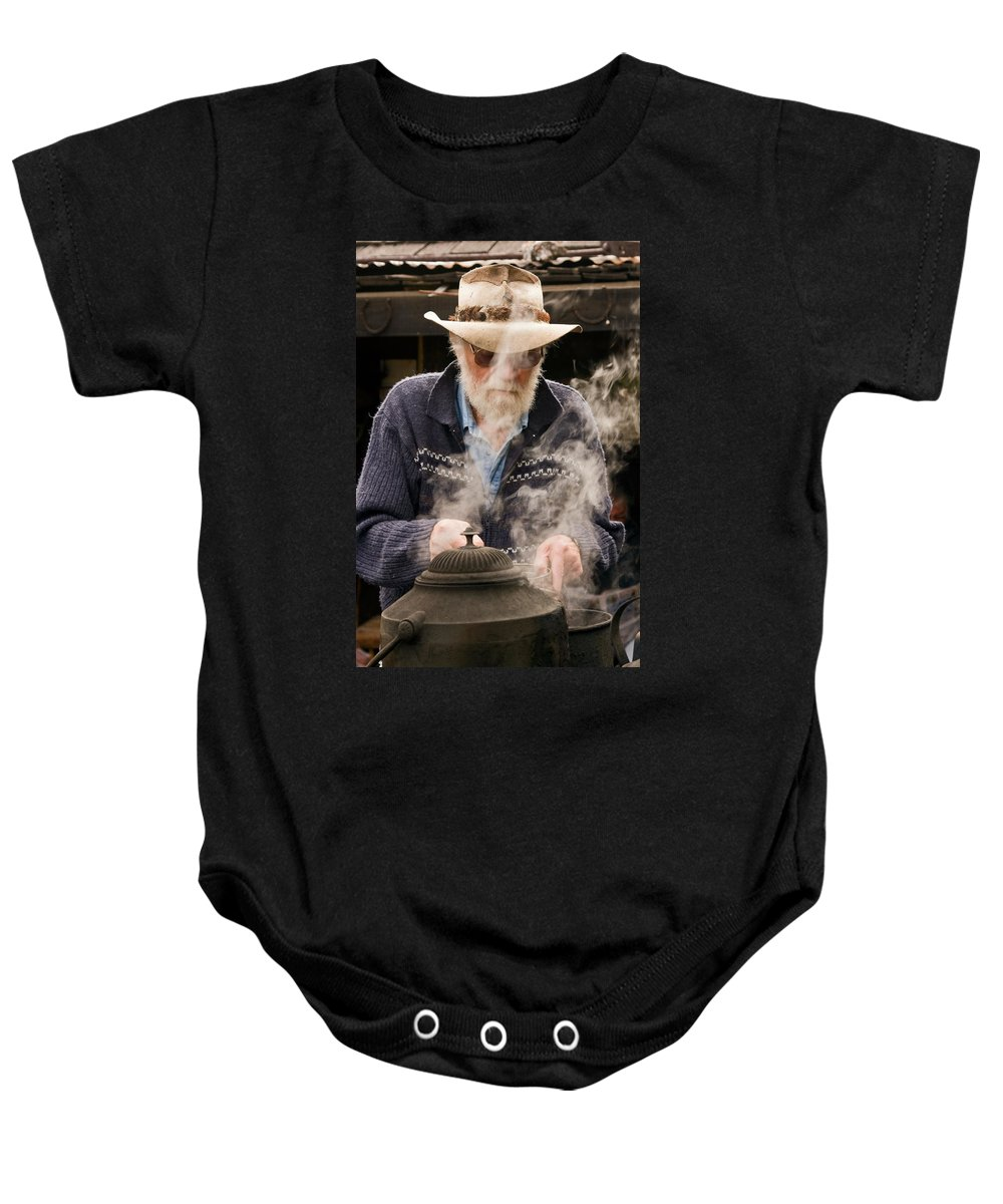 Making Billy Tea Baby Onesie featuring the photograph Making Billy Tea by Sally Weigand
