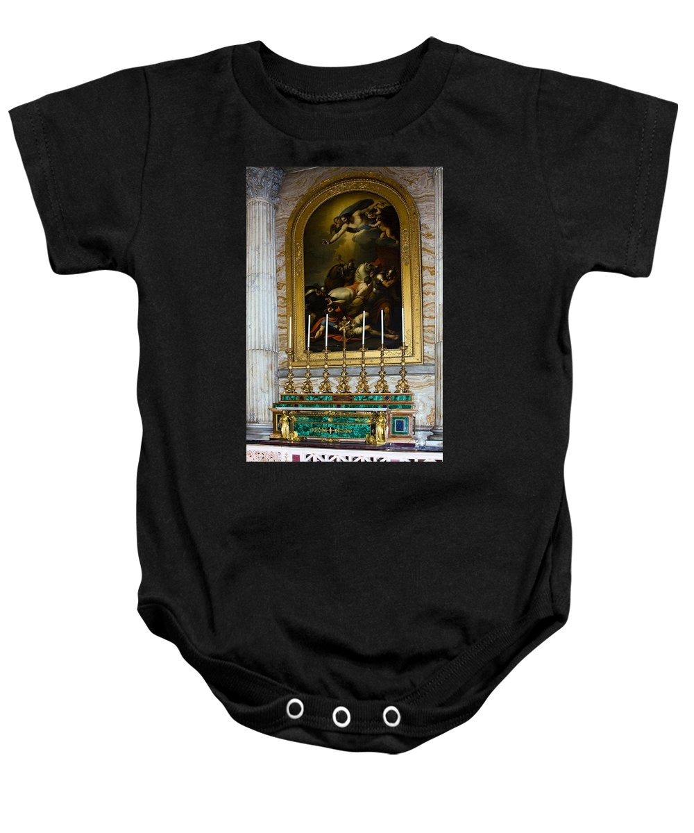 Basilica St. Paul Outside The Walls Baby Onesie featuring the photograph Malachite And Lapis Lazuli Altar by Sally Weigand