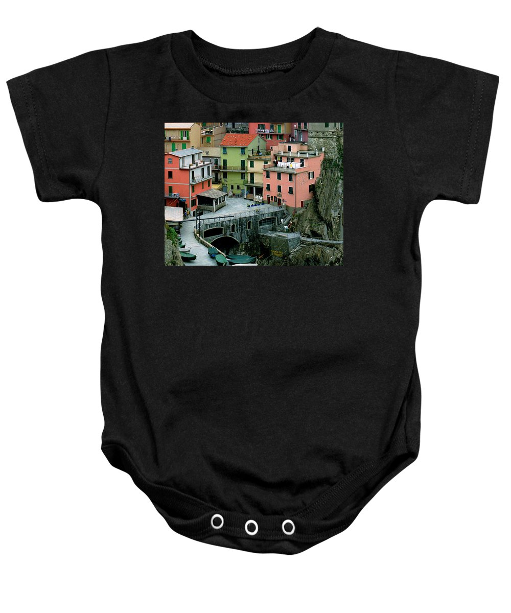 Manarola Baby Onesie featuring the photograph Manarola Houses On The Cinque Terre II by Greg Matchick
