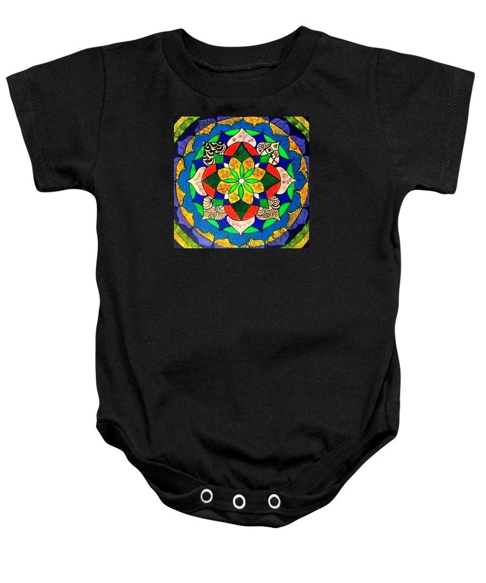 Mandala Baby Onesie featuring the painting Mandala Circle Of Life by Sandra Lira