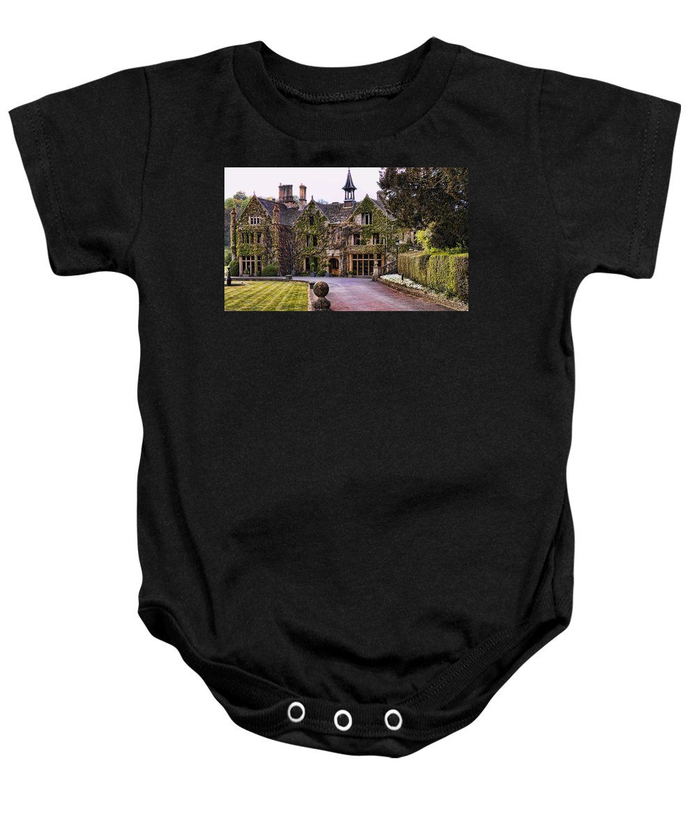 Castle Combe Baby Onesie featuring the photograph Manor House At Castle Combe by Jon Berghoff