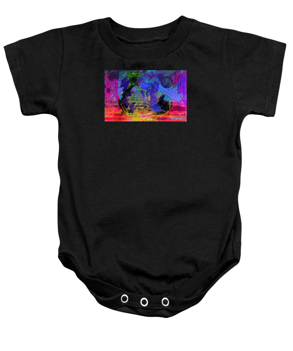 Abstract Baby Onesie featuring the painting Mapped In Time Pottery Collection by Sherri's - Of Palm Springs