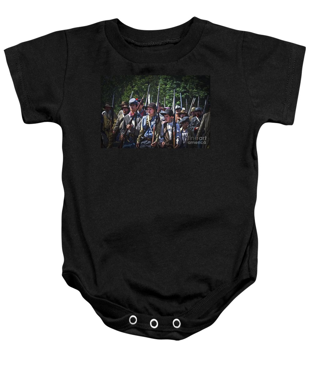 Civil War Baby Onesie featuring the photograph Marching In To Town by Kim Henderson