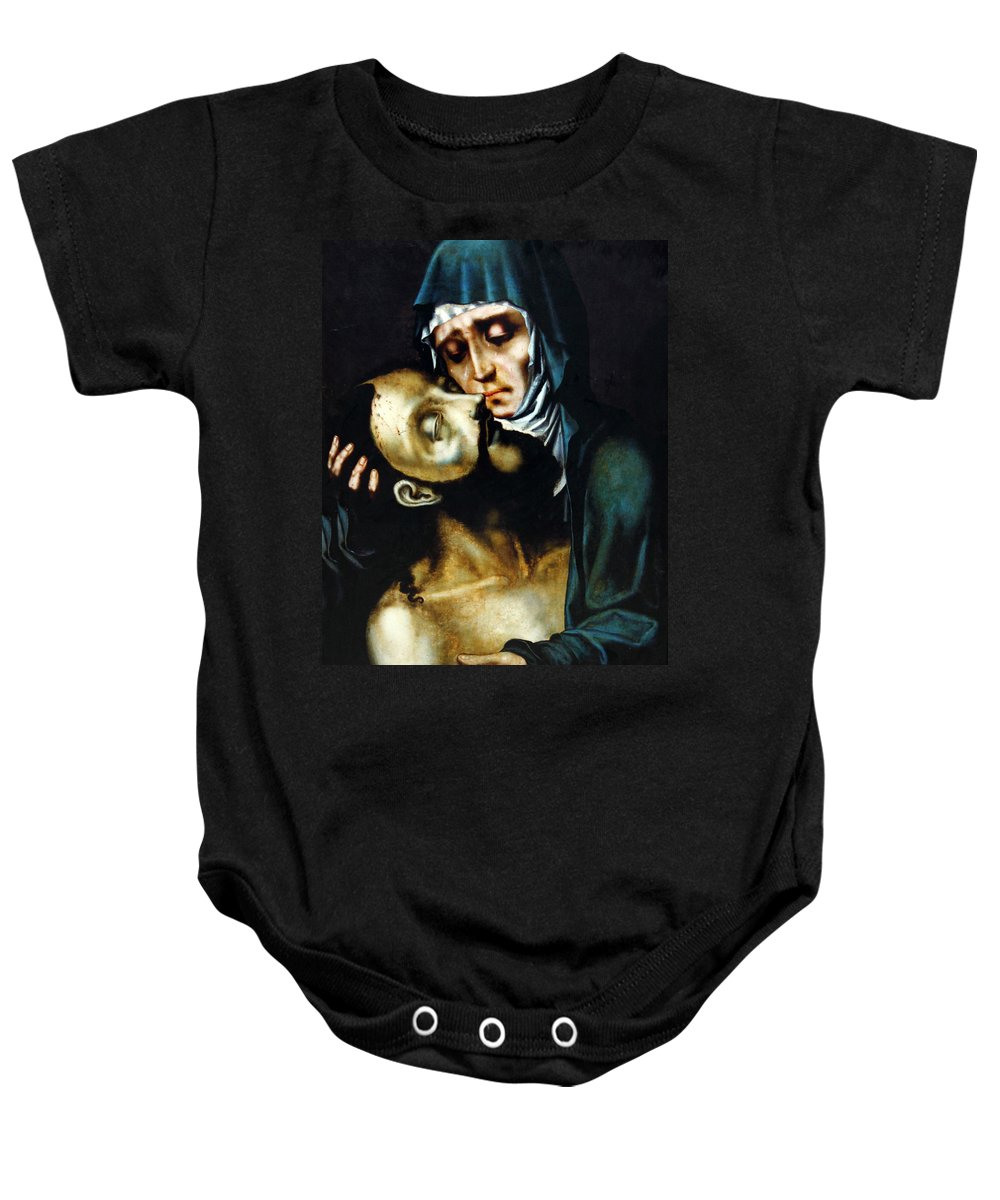 Jesus Baby Onesie featuring the photograph Mary And Jesus Painting At Peace Center by Munir Alawi