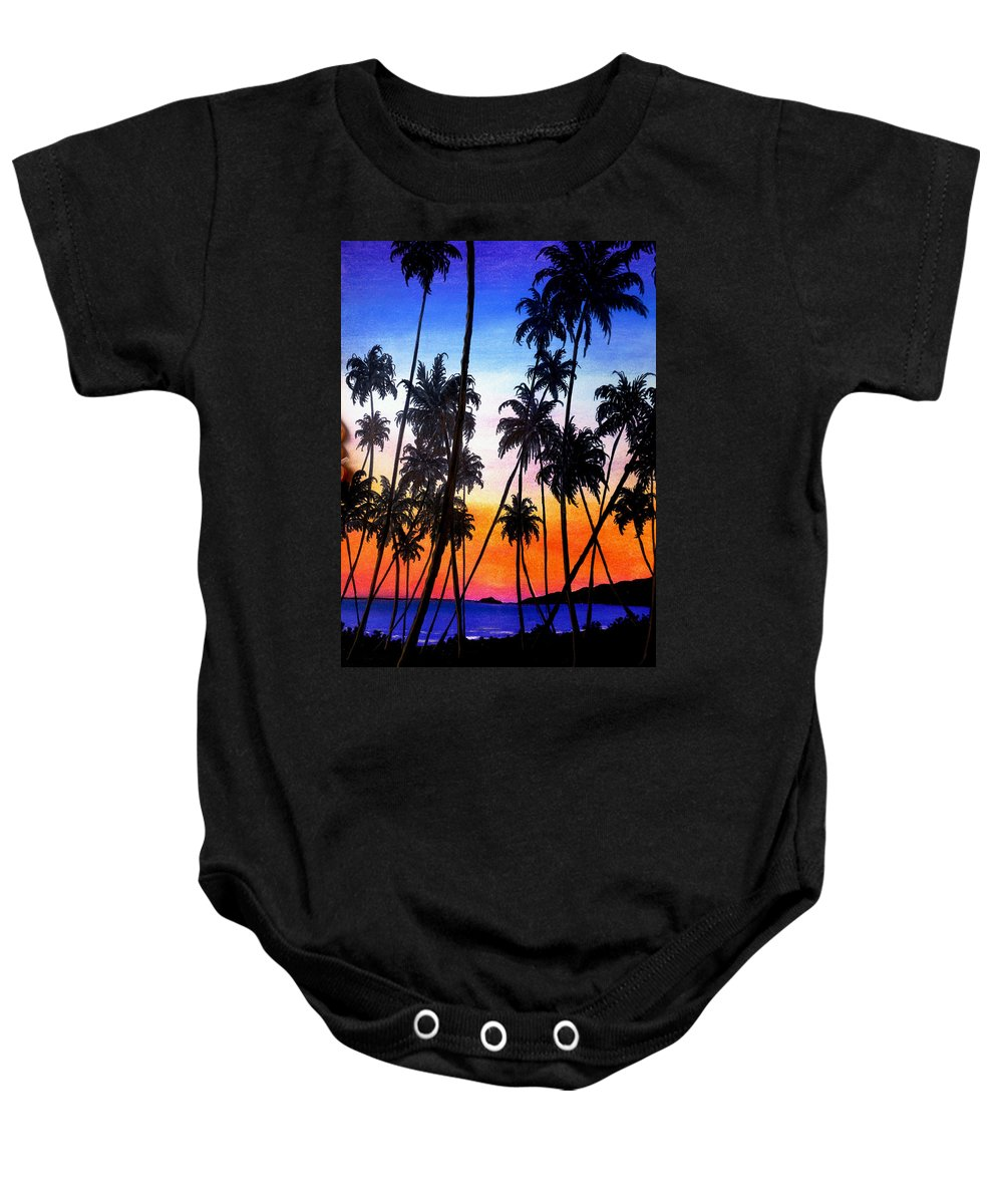 Tropical Baby Onesie featuring the pastel Mayaro Red Dawn by Karin Dawn Kelshall- Best