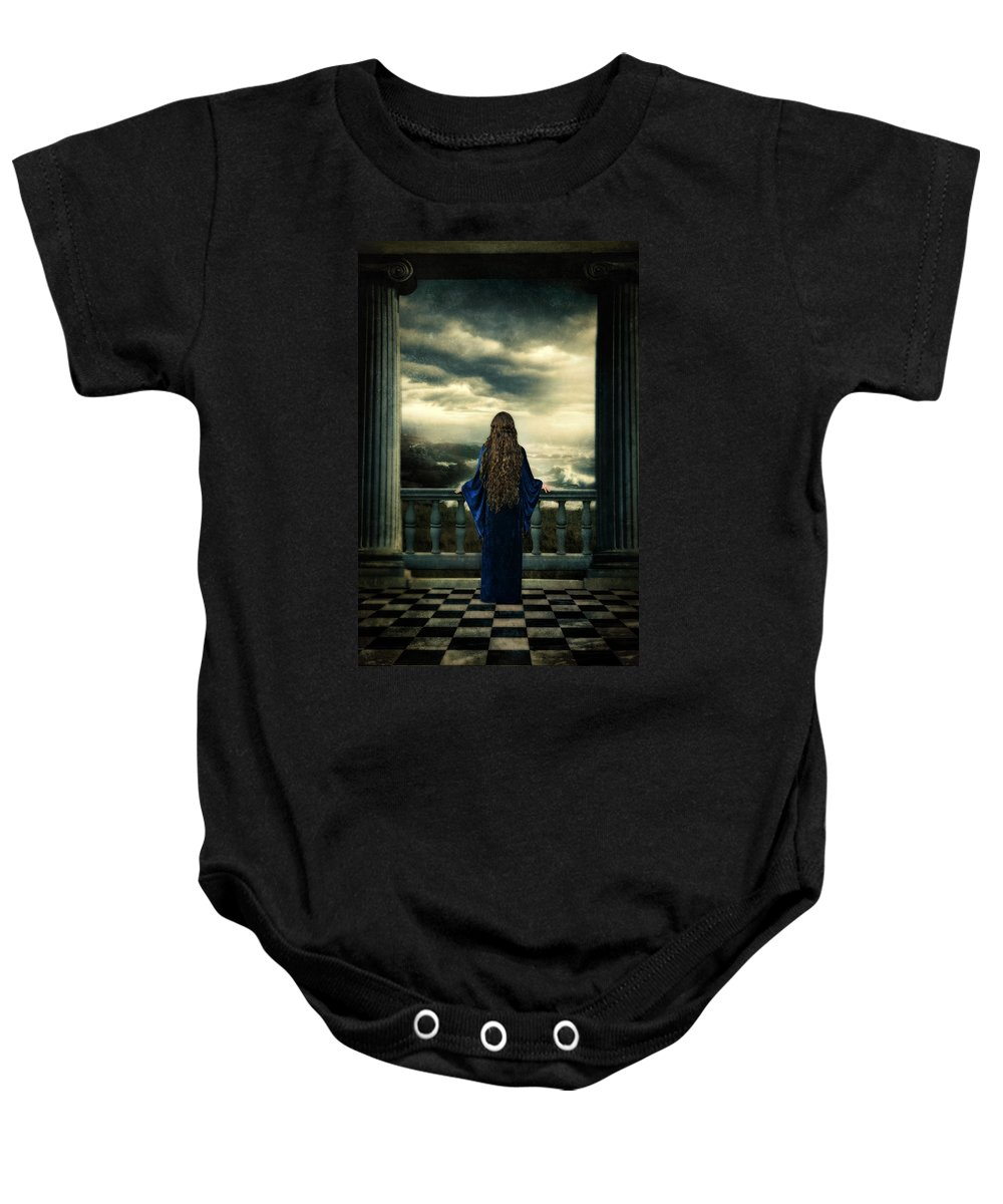 Lady Baby Onesie featuring the photograph Medieval Lady Watching The Sea by Jill Battaglia
