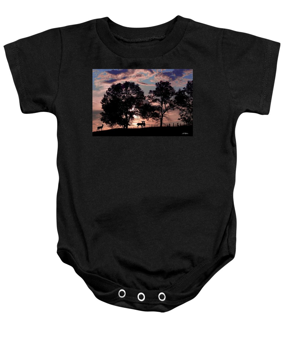 Deer Baby Onesie featuring the photograph Meeting In The Sunset by Bill Stephens