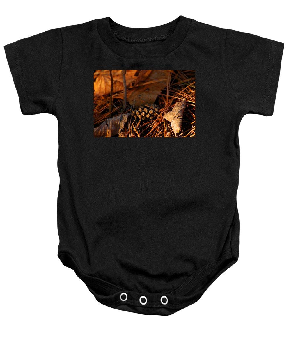 Branch Baby Onesie featuring the photograph Michigan Golden Sunset Pine Cone by LeeAnn McLaneGoetz McLaneGoetzStudioLLCcom