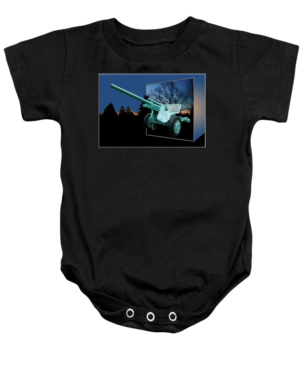 Out Of Bounds Baby Onesie featuring the photograph Military Artillery Piece by Thomas Woolworth