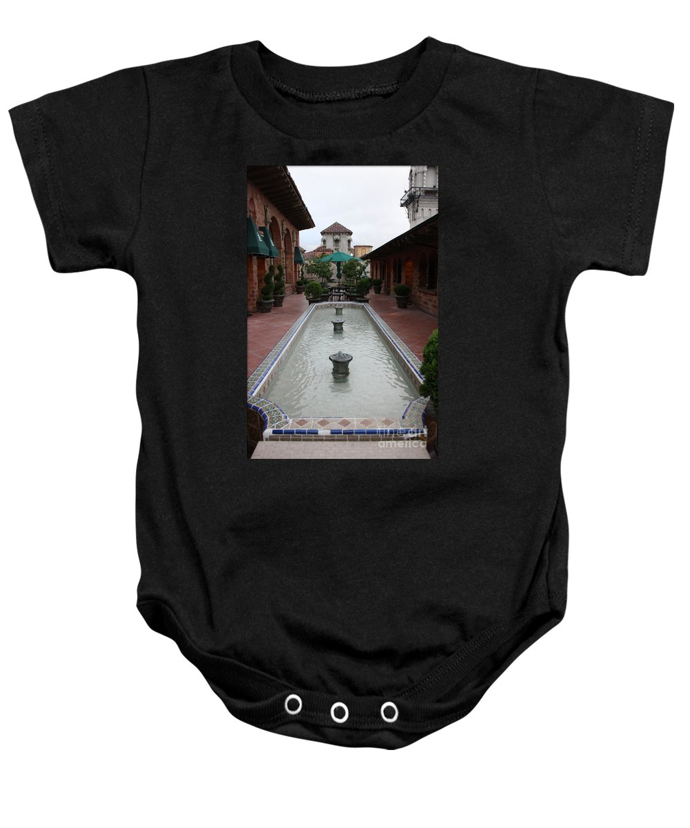Mission Inn Baby Onesie featuring the photograph Mission Inn Roof Top Pond by Tommy Anderson