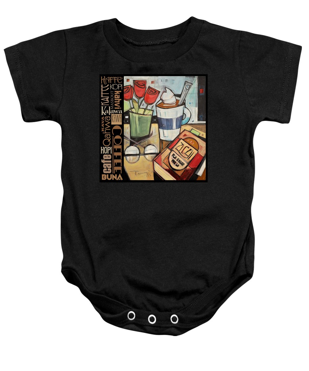 Coffee Baby Onesie featuring the painting Mocha Coffee Languages Poster by Tim Nyberg