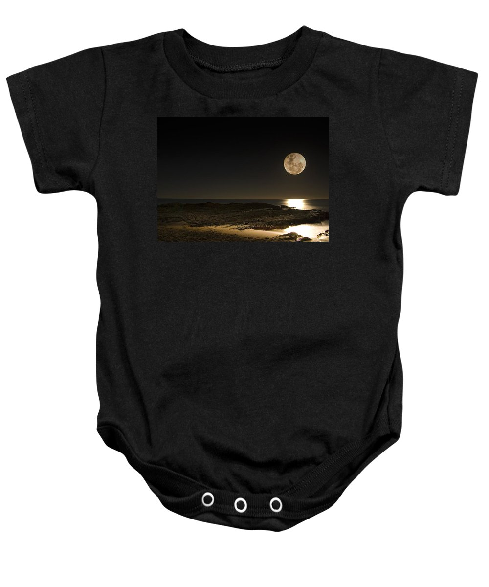 Moon Rise Baby Onesie featuring the photograph Moon Over Curumbin by Rebecca Akporiaye