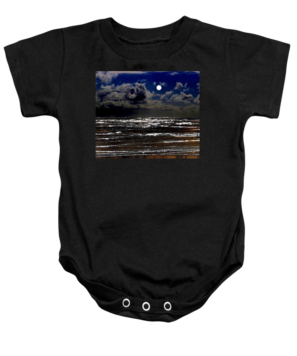 Full Moon Baby Onesie featuring the digital art Moon Over The Pacific by Will Borden