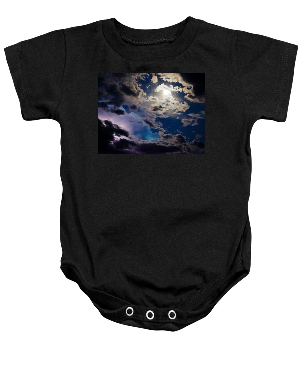 Moon Baby Onesie featuring the photograph Moonlit Clouds With A Splash Of Lightning by Beth Riser