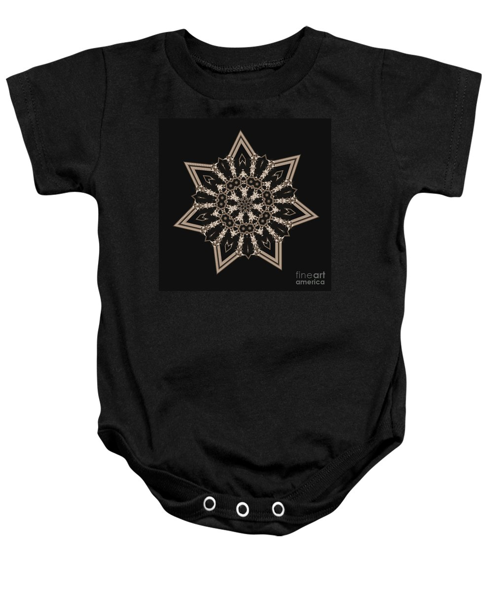 Mosaic Tile Baby Onesie featuring the photograph Mosaic Work Of Sepia Art by Donna Brown