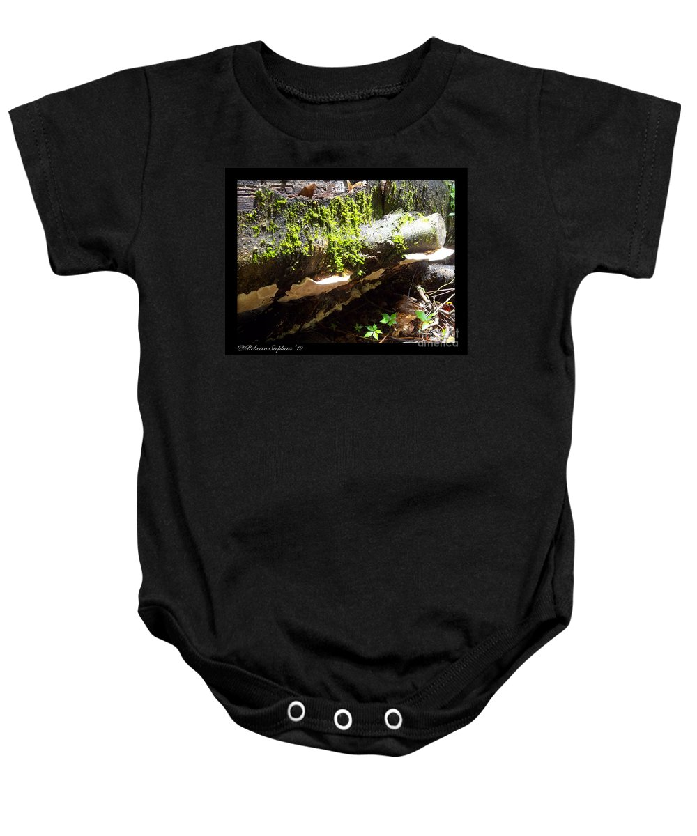 Mushroom Baby Onesie featuring the photograph Mossy Waterfall On Mushroom Rock by Rebecca Stephens