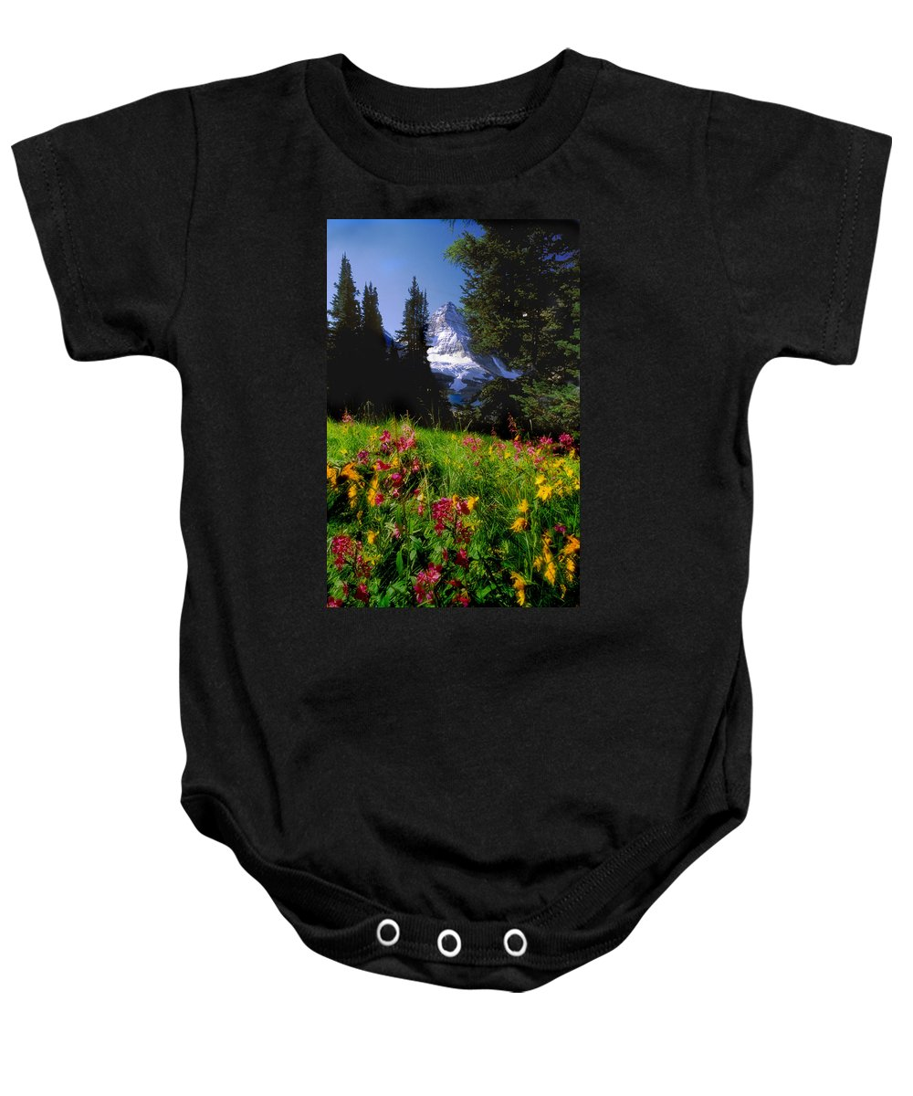 Alpines Baby Onesie featuring the photograph Mount Assiniboine by Jerry Kobalenko