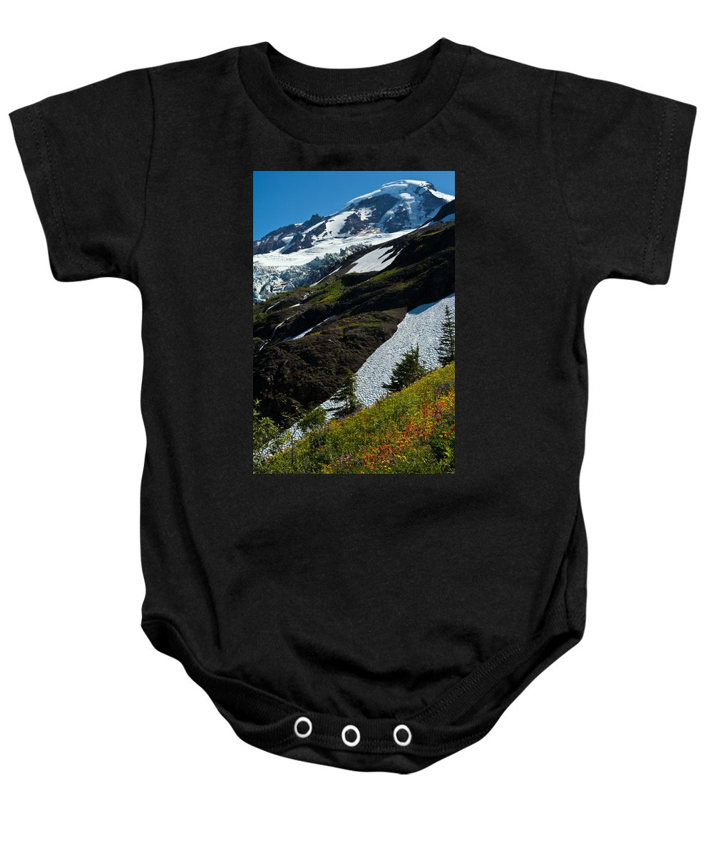 Mt Baker Baby Onesie featuring the photograph Mount Baker Floral Bouquet by Mike Reid