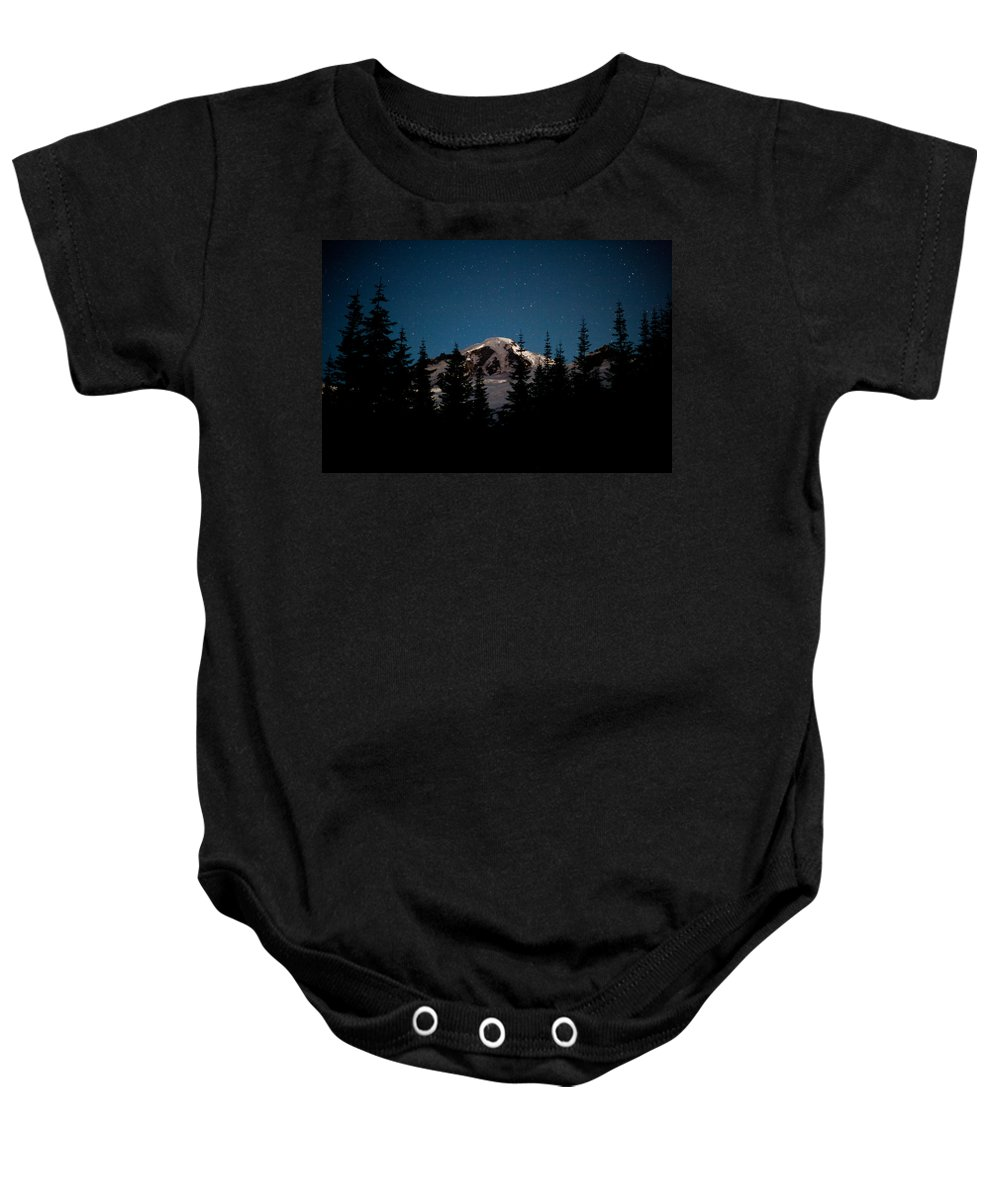 Mount Baker Baby Onesie featuring the photograph Mount Baker Starry Night by Mike Reid