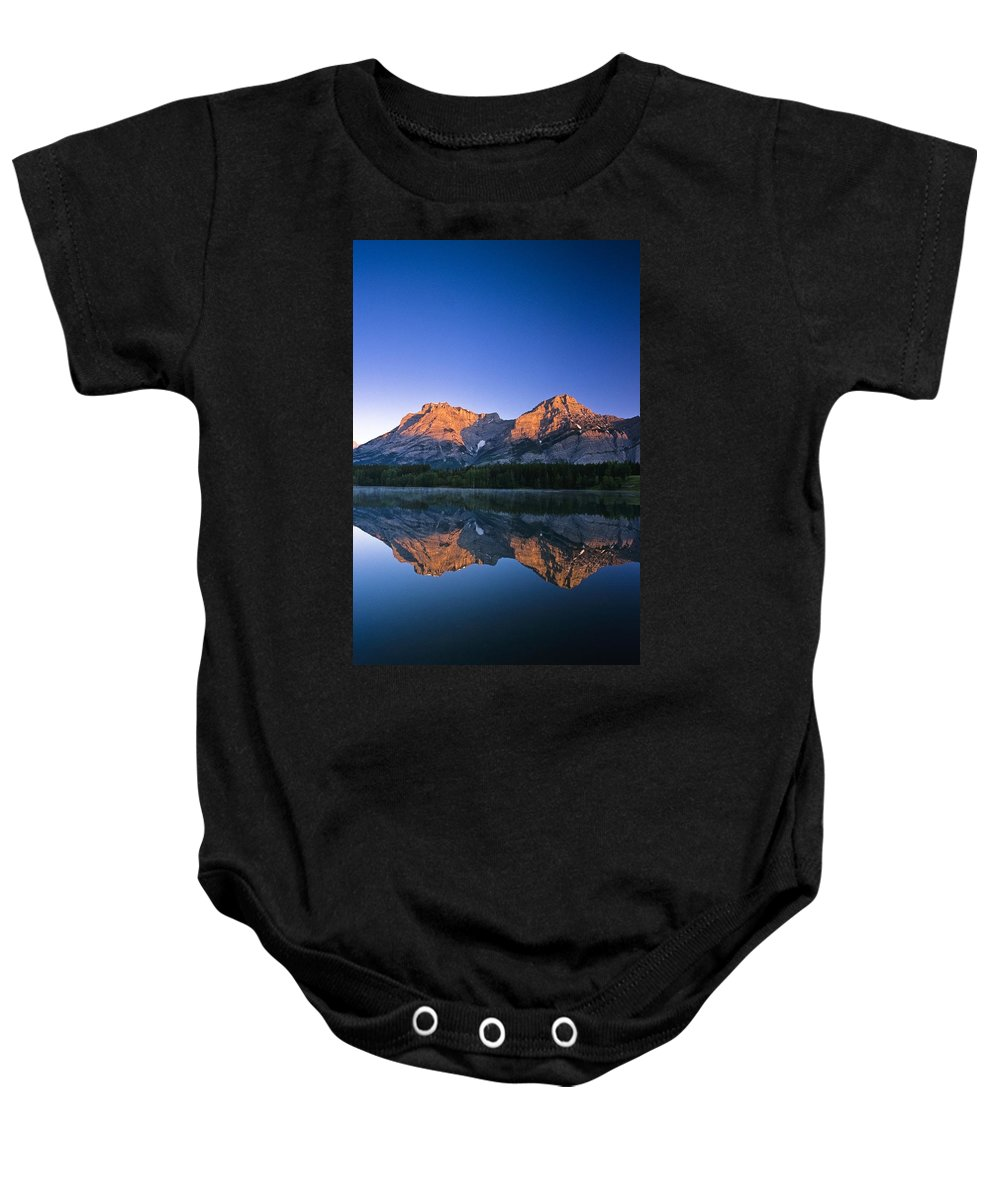 Beauty In Nature Baby Onesie featuring the photograph Mount Kidd Reflected In Wedge Pond by Bilderbuch