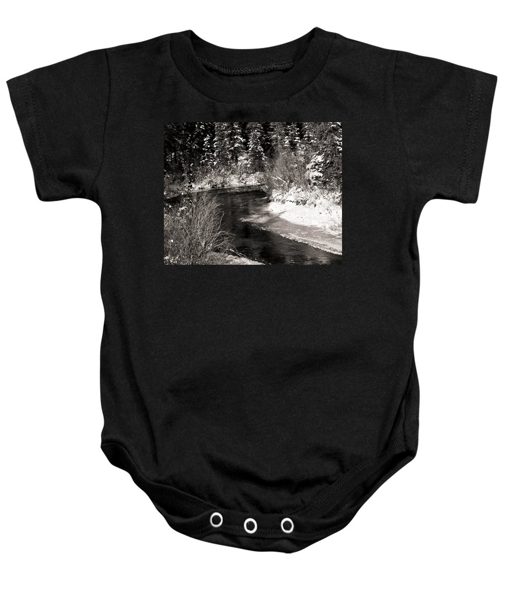 Alaska Baby Onesie featuring the painting Mountain Stream by Roger Wedegis
