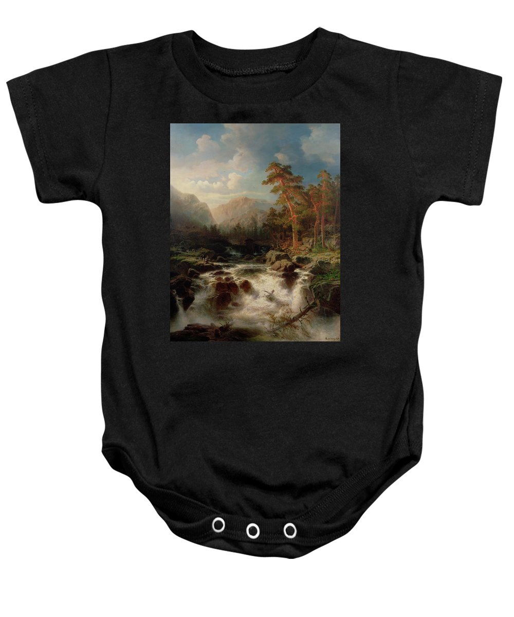 Mountain Torrent Baby Onesie featuring the painting Mountain Torrent Smaland by Marcus Larson