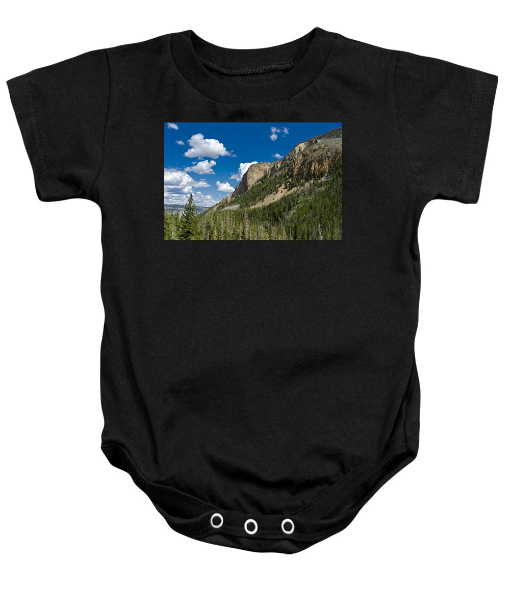 Yellowstone National Park Baby Onesie featuring the photograph Mountain View by Jon Berghoff
