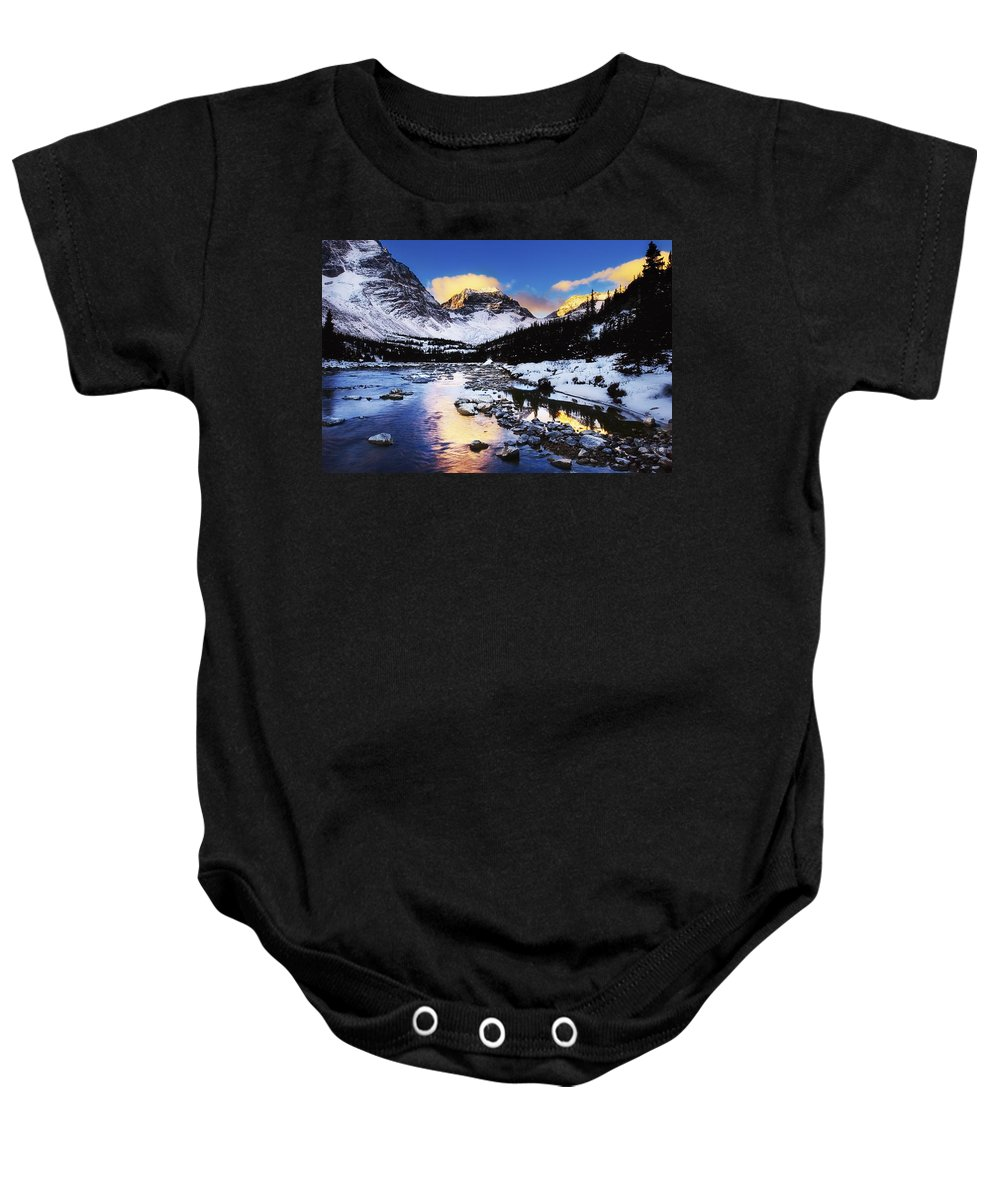 Blue Sky Baby Onesie featuring the photograph Mountains In The Winter by Chris Knorr