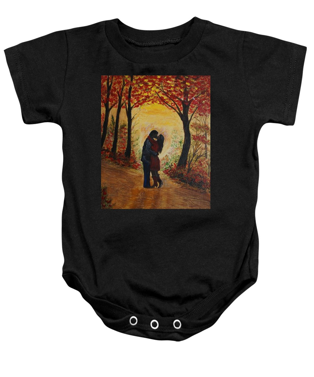 Couple Painting Baby Onesie featuring the painting Mountainside Kiss by Leslie Allen