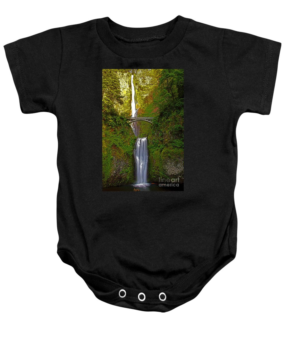 Oregon Baby Onesie featuring the photograph Multnomah Falls At Summer Solstice - Posterized by Rich Walter