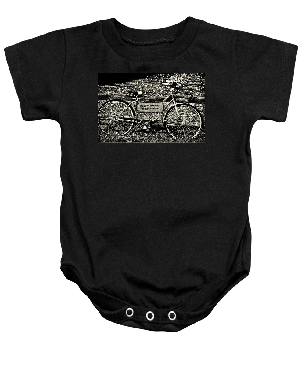 Bike Baby Onesie featuring the photograph My Other Bike Is A Harley Davidson In Sepia by Bill Cannon