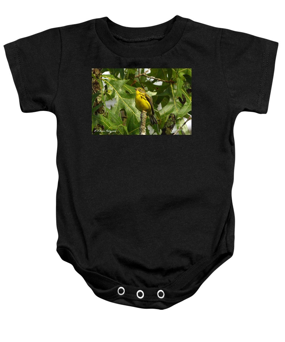 Prairie Warbler Baby Onesie featuring the photograph My Pretty Yellow Belly by Barbara Bowen