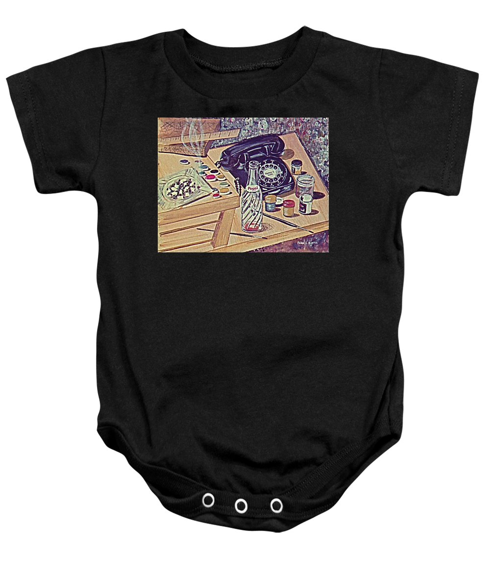 Telephone Pepsi Bottle Paint Cigarettes Baby Onesie featuring the painting My Second Still Life Circa 60 by Frank Hunter
