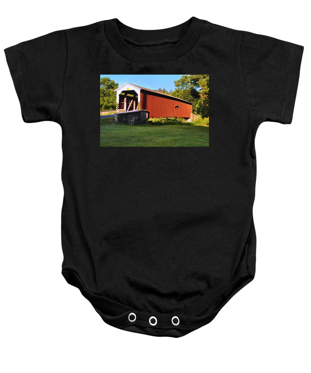 Neff's Baby Onesie featuring the photograph Neff's Mill Covered Bridge In Lancaster County Pa. by Bill Cannon