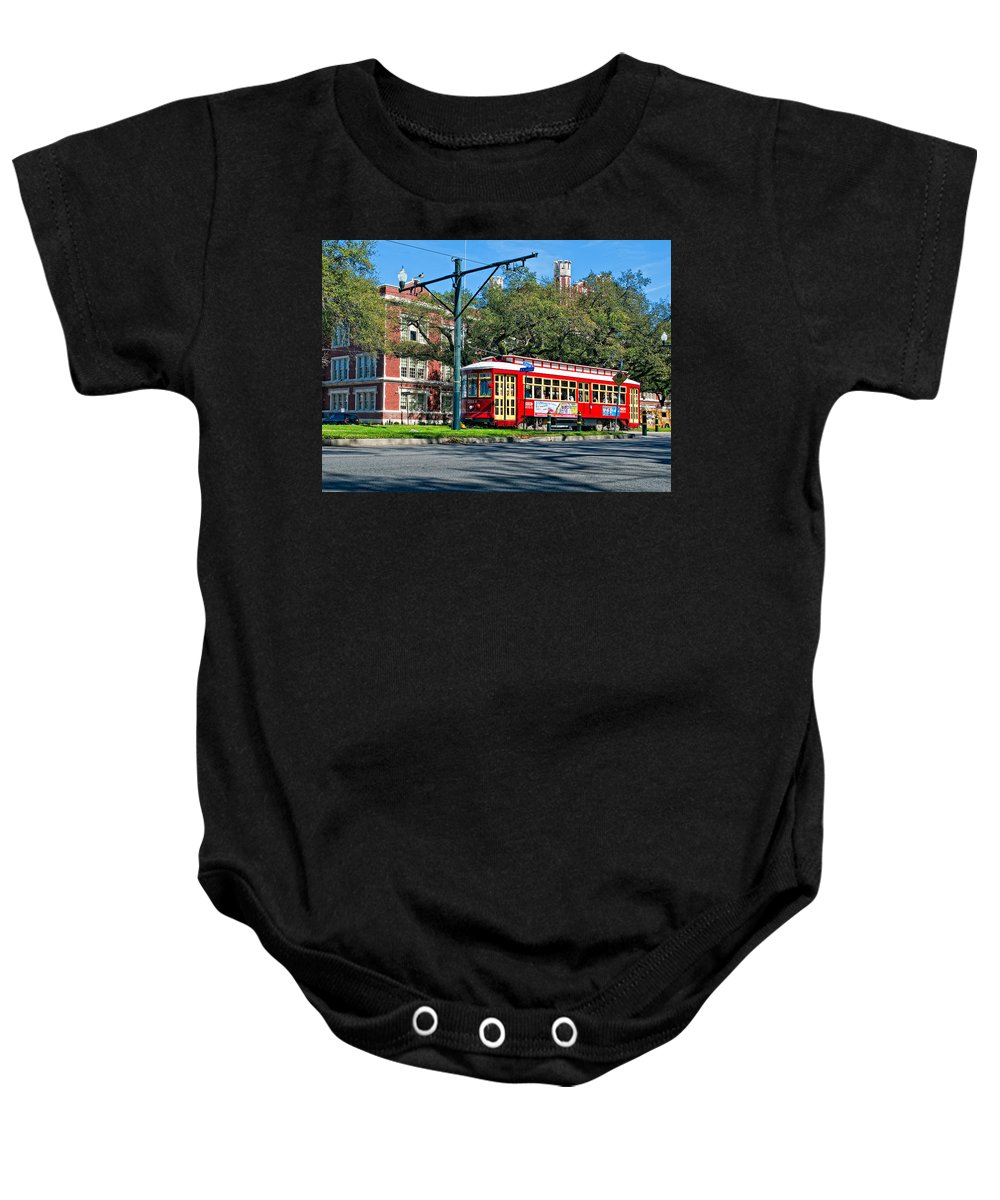 New Orleans Baby Onesie featuring the photograph New Orleans Streetcar 2 by Steve Harrington