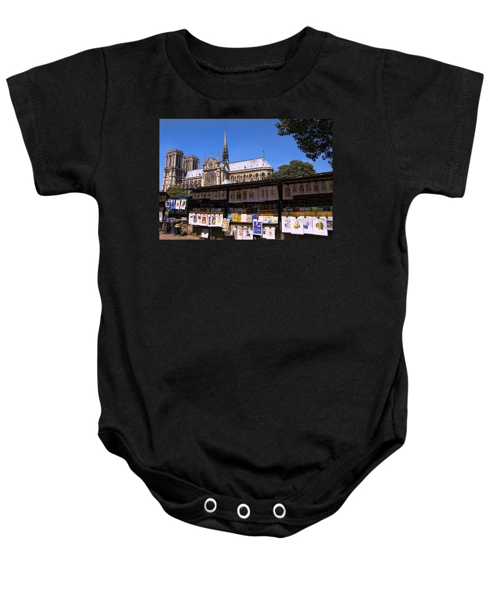 Notre Dame Cathedral Baby Onesie featuring the photograph Newstand Next To Notre Dame by Jon Berghoff