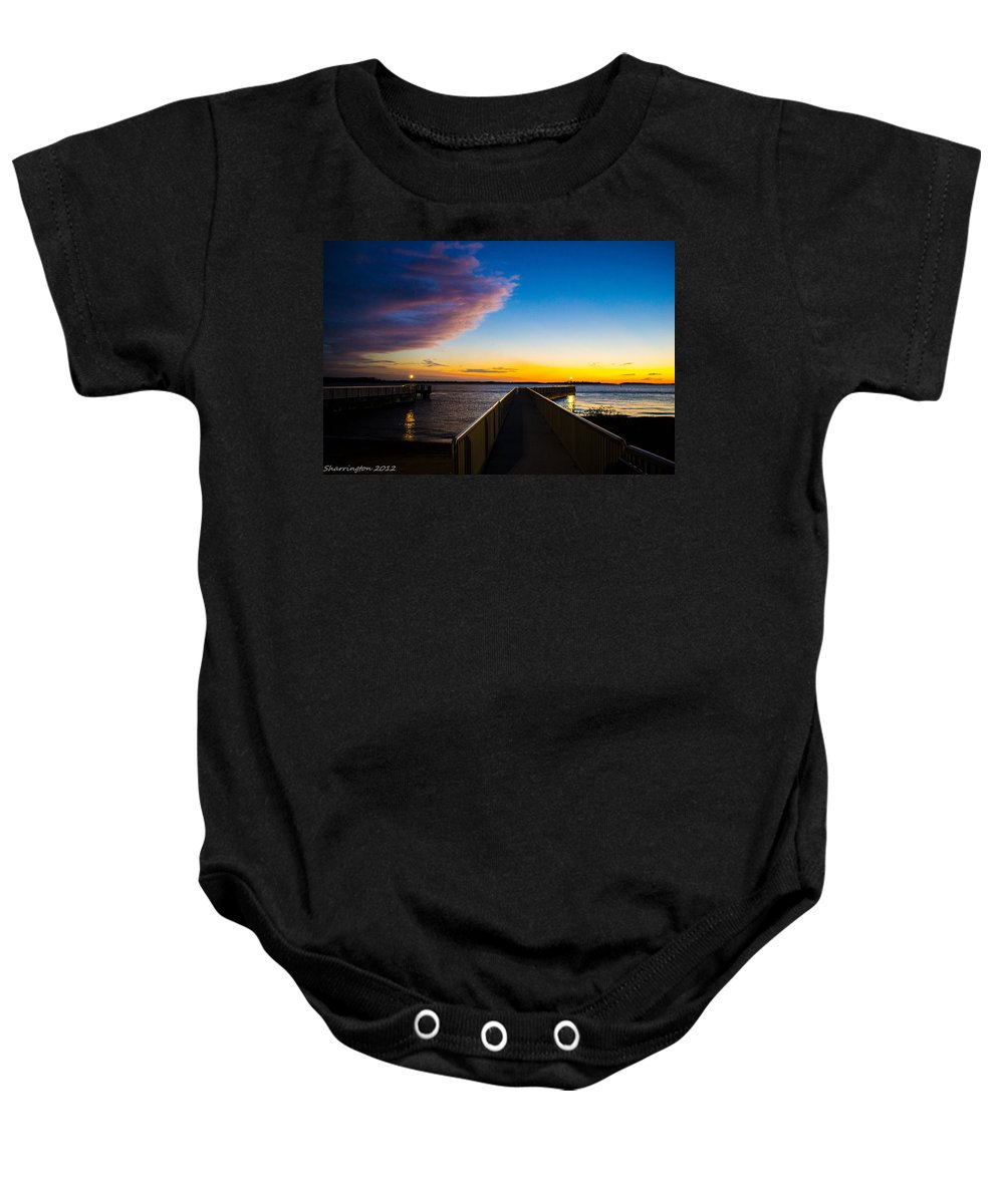 Pier Baby Onesie featuring the photograph Night Approaches by Shannon Harrington