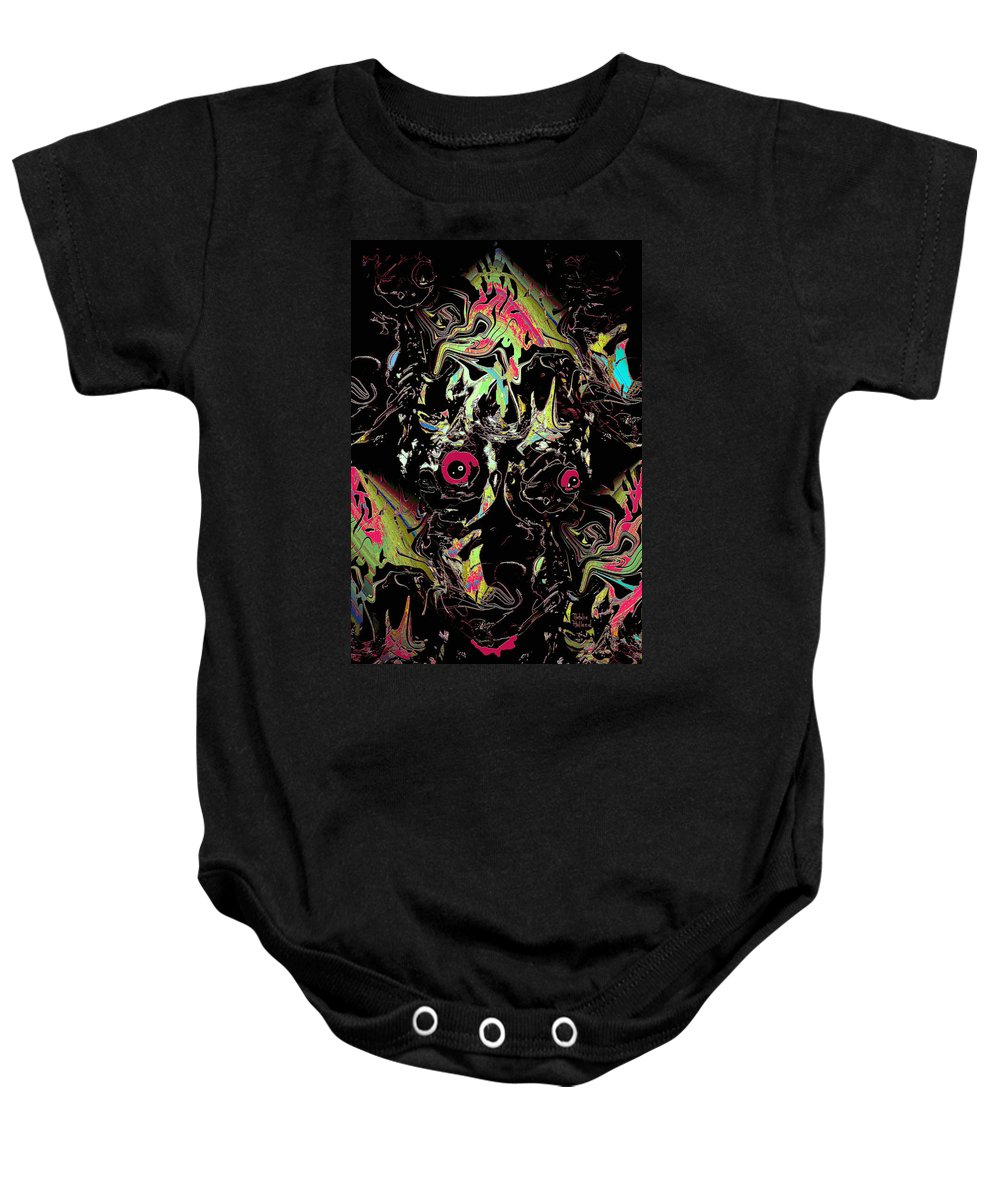 Scary Baby Onesie featuring the mixed media Nightmare by Natalie Holland