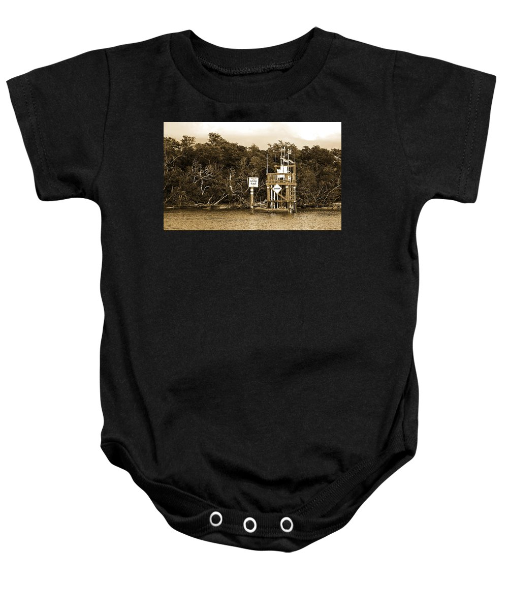No Wake Sign Baby Onesie featuring the photograph No Wake by Christine Stonebridge