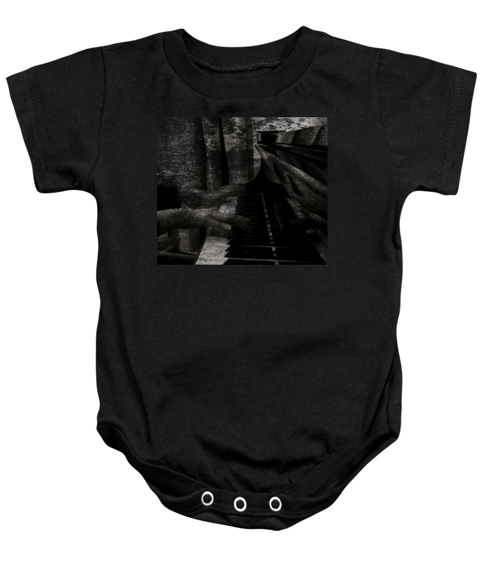 Nobodys Notes Piano Baby Onesie featuring the photograph Nobodys Notes by The Artist Project