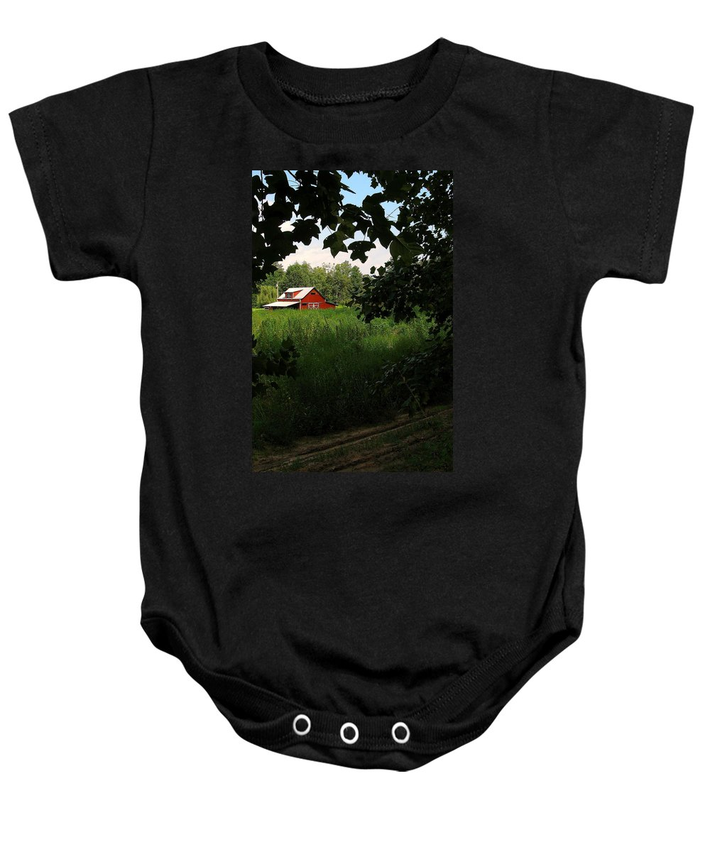 Farm Baby Onesie featuring the photograph North Carolina Farm by Jeff Heimlich